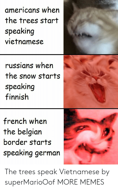 Dank, Memes, and Target: americans when  the trees start  speaking  vietnamese  russians when  the snow starts  speaking  finnish  french when  the belgian  border starts  speaking germarn The trees speak Vietnamese by superMarioOof MORE MEMES
