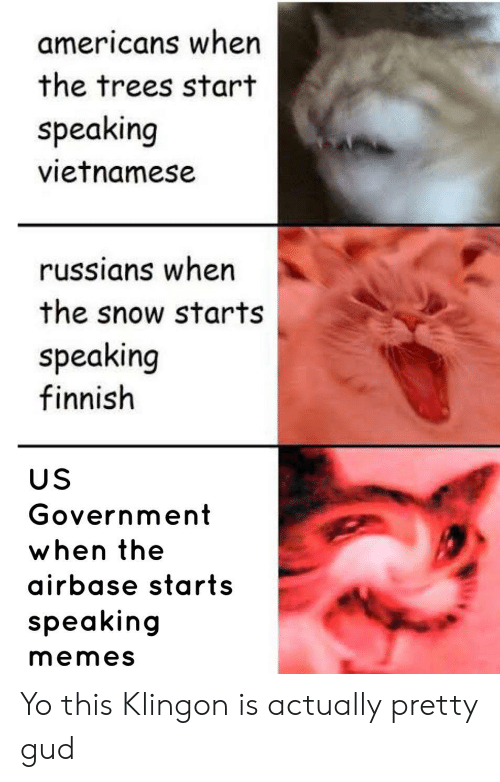 us government: americans when  the trees start  speaking  vietnamese  russians when  the snow starts  speaking  finnish  US  Government  when the  airbase starts  speaking  memes Yo this Klingon is actually pretty gud