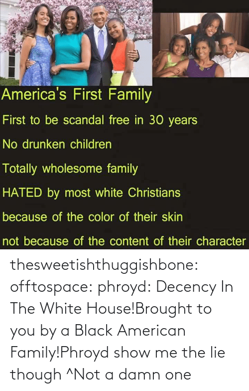 Wholesome Family: America's First Family  First to be scandal free in 30 years  No drunken children  Totally wholesome family  HATED by most white Christians  because of the color of their skin  not because of the content of their character thesweetishthuggishbone:  offtospace:  phroyd:  Decency In The White House!Brought to you by a Black American Family!Phroyd  show me the lie though  ^Not a damn one