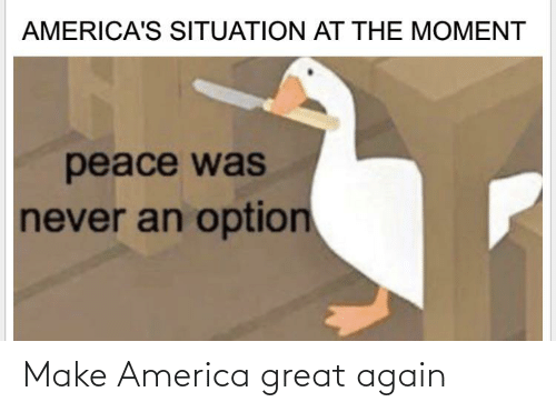 make america great again: AMERICA'S SITUATION AT THE MOMENT  peace was  never an option Make America great again