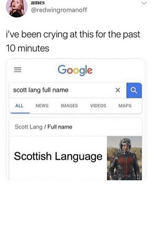 Scottish Language: ames  @redwingromanoff  i've been crying at this for the past  10 minutes  Google  scott lang full name  X  NEWS  MAPS  ALL  IMAGES  VIDEOS  Scott Lang / Full name  Scottish Language  > So you took it upon yourself to prevent others from doing the same?