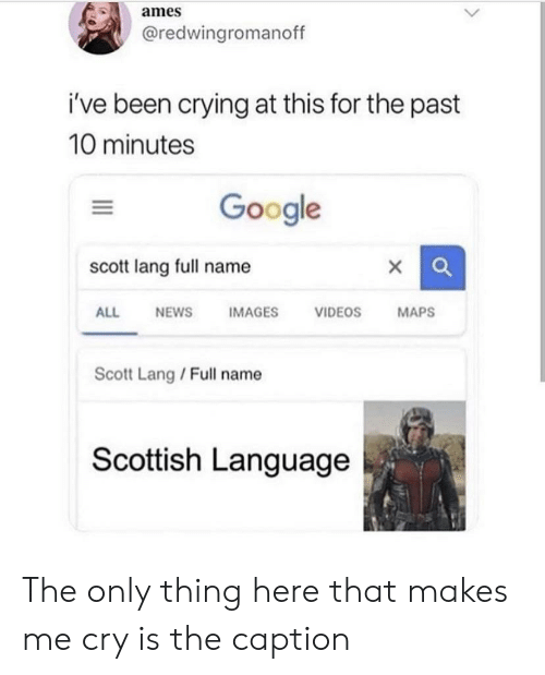 Scottish Language: ames  @redwingromanoff  i've been crying at this for the past  10 minutes  Google  scott lang full name  IMAGES  ALL  NEWS  VIDEOS  MAPS  Scott Lang / Full name  Scottish Language The only thing here that makes me cry is the caption