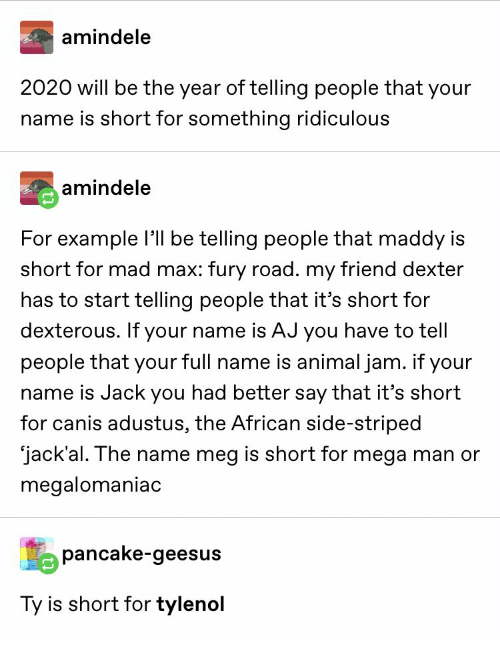 full name: amindele  2020 will be the year of telling people that your  name is short for something ridiculous  amindele  For example l be telling people that maddy is  short for mad max: fury road. my friend dexter  has to start telling people that it's short for  dexterous. If your name is AJ you have to tell  people that your full name is animal jam. if your  name is Jack you had better say that it's short  for canis adustus, the African side-striped  jack'al. The name meg is short for mega man or  megalomaniac  pancake-geesus  Ty is short for tylenol