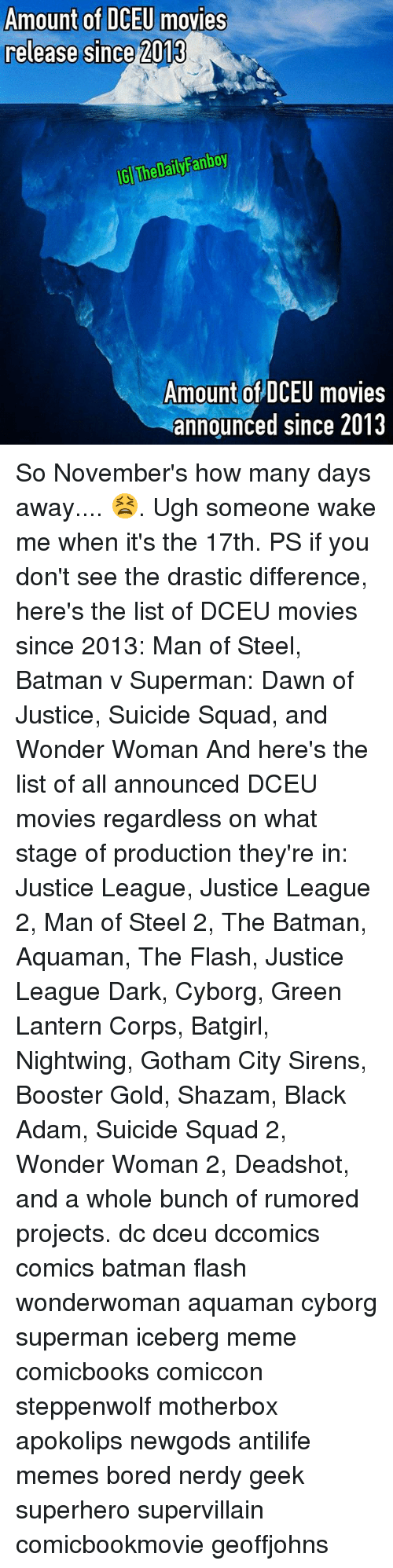 Corpsing: Amount of DCEU movies  release since 2013  GI The DailyFanboy  Amount of DCEU movies  announced since 2013 So November's how many days away.... 😫. Ugh someone wake me when it's the 17th. PS if you don't see the drastic difference, here's the list of DCEU movies since 2013: Man of Steel, Batman v Superman: Dawn of Justice, Suicide Squad, and Wonder Woman And here's the list of all announced DCEU movies regardless on what stage of production they're in: Justice League, Justice League 2, Man of Steel 2, The Batman, Aquaman, The Flash, Justice League Dark, Cyborg, Green Lantern Corps, Batgirl, Nightwing, Gotham City Sirens, Booster Gold, Shazam, Black Adam, Suicide Squad 2, Wonder Woman 2, Deadshot, and a whole bunch of rumored projects. dc dceu dccomics comics batman flash wonderwoman aquaman cyborg superman iceberg meme comicbooks comiccon steppenwolf motherbox apokolips newgods antilife memes bored nerdy geek superhero supervillain comicbookmovie geoffjohns