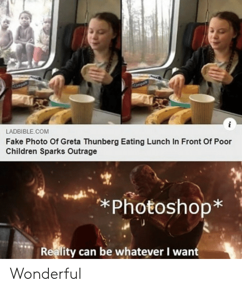 whatever: Ampar  i  LADBIBLE.COM  Fake Photo Of Greta Thunberg Eating Lunch In Front Of Poor  Children Sparks Outrage  *Photoshop*  Reality can be whatever I want Wonderful