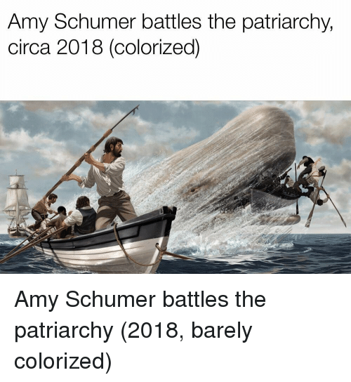 Amy Schumer: Amy Schumer battles the patriarchy,  circa 2018 (colorized) Amy Schumer battles the patriarchy (2018, barely colorized)