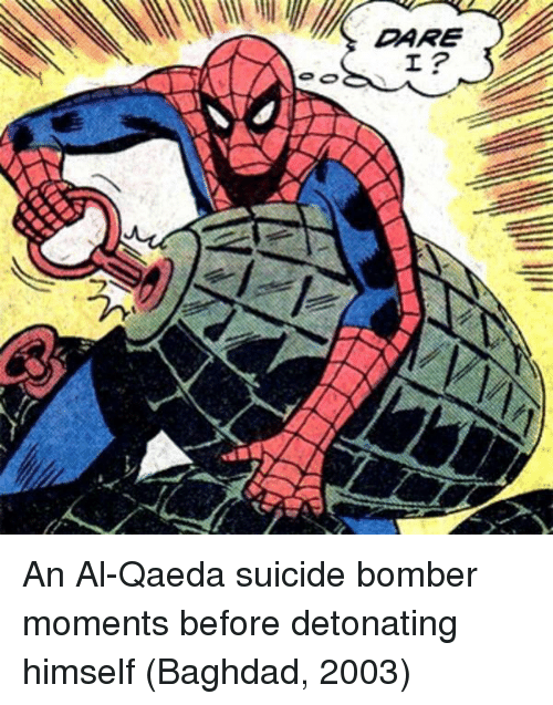 Suicide Bomber: An Al-Qaeda suicide bomber moments before detonating himself (Baghdad, 2003)