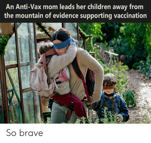 Supporting: An Anti-Vax mom leads her children away from  the mountain of evidence supporting vaccination  titanmaximum2 So brave
