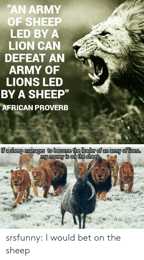 Money, Tumblr, and Army: AN ARMY  OF SHEEP  LED BY A  LION CAN  DEFEAT AN  ARMY OF  LIONS LED  BY A SHEEP  AFRICAN PROVERB  ffa sheep manages to beaome the leader of an amy of ltonss  my money is on the sheep srsfunny:  I would bet on the sheep