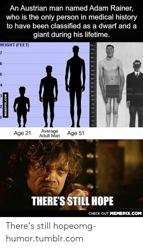 Theres Still: An Austrian man named Adam Rainer,  who is the only person in medical history  to have been classified as a dwarf and a  giant during his lifetime.  HEIGHT (FEET)  200  190  180  170  160  150  140  133  120  110  Colle on  9 Llas n.com  T00  90  80  70  50-  30  20  Average  Adult Man  Age 21  Age 51  THERE'S STILL HOPE  GANUTA.BLAOITUMEL  CHECK OUT MEMEPIX.COM  MEMEPIX.COM There's still hopeomg-humor.tumblr.com