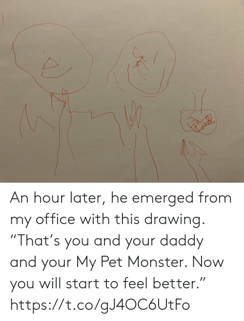 """Emerged: An hour later, he emerged from my office with this drawing. """"That's you and your daddy and your My Pet Monster. Now you will start to feel better."""" https://t.co/gJ4OC6UtFo"""