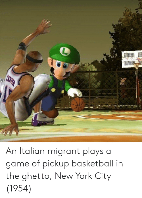 Migrant: An Italian migrant plays a game of pickup basketball in the ghetto, New York City (1954)