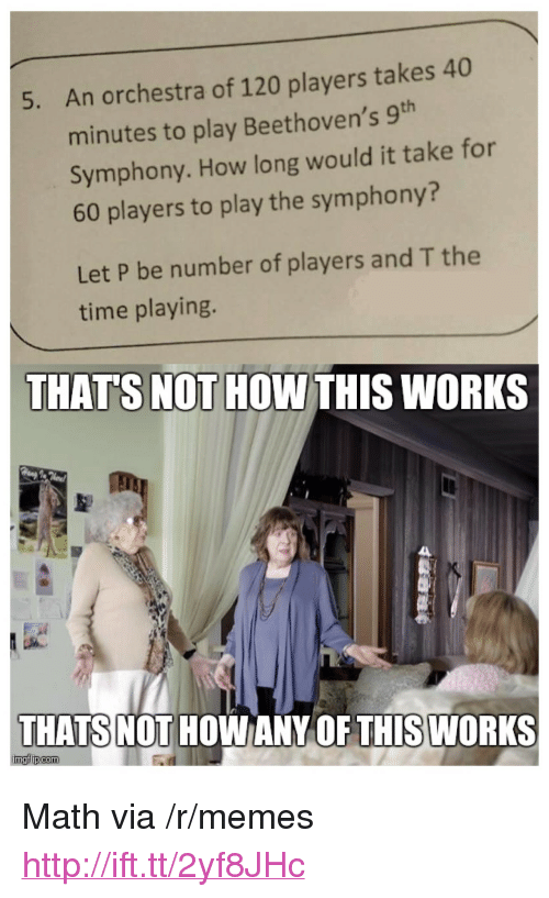 "Not How This Works: An orchestra of 120 players takes 40  minutes to play Beethoven's 9h  Symphony. How long would it take for  60 players to play the symphony?  5.  Let P be number of players and T the  time playing.  THAT'S NOT HOW THIS WORKS  THATS NOT  HOWANY OF THISWORKS <p>Math via /r/memes <a href=""http://ift.tt/2yf8JHc"">http://ift.tt/2yf8JHc</a></p>"