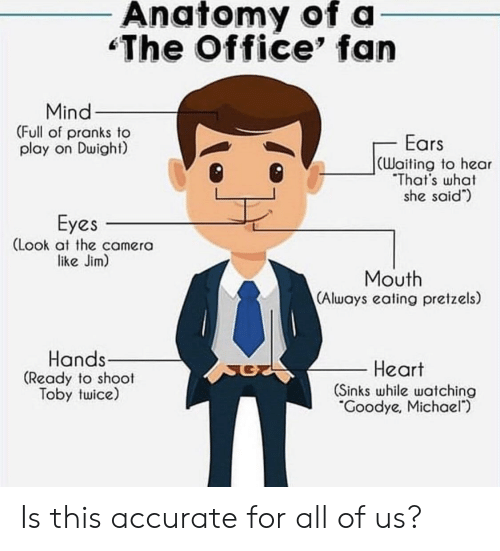 Shoot Toby Twice: Anatomy of a  The Office' fan  Mind  (Full of pranks to  play on Dwight)  Ears  CWaiting to hear  That's what  she said)  Eyes  (Look at the camera  like Jim)  Mouth  (Always eating pretzels)  Hands  (Ready to shoot  Toby twice)  -Heart  (Sinks while watching  Goodye, Michael) Is this accurate for all of us?
