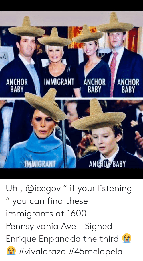 "Memes, Pennsylvania, and Baby: ANCHOR  BABY  IMMIGRANT ANCHOR  BABY  ANCHOR  BABY  AD  ANC OR BABY  IMMIGRANT Uh , @icegov "" if your listening ""  you can find these immigrants at 1600 Pennsylvania Ave - Signed Enrique Enpanada the third 😭😭 #vivalaraza #45melapela"