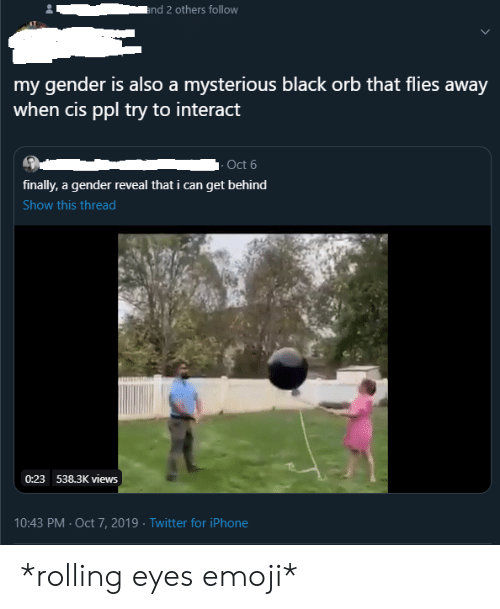 rolling eyes: and 2 others follow  my gender is also a mysterious black orb that flies away  when cis ppl try to interact  - Oct 6  finally, a gender reveal that i can get behind  Show this thread  0:23 538.3K views  10:43 PM Oct 7, 2019 Twitter for iPhone *rolling eyes emoji*