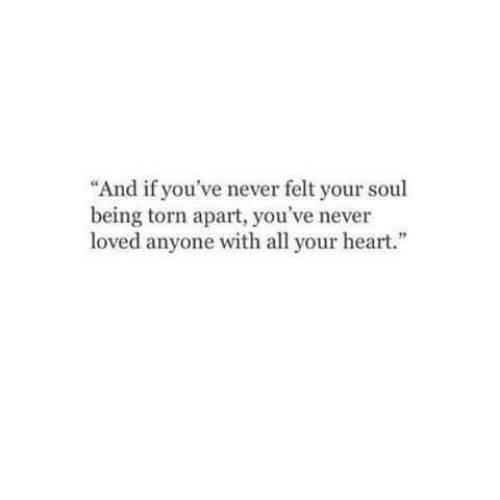 "Heart, Never, and Torn: ""And if you've never felt your soul  being torn apart, you've never  loved anyone with all your heart."""