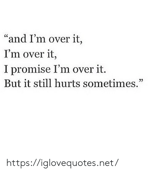 """Net, Hurts, and Still: """"and I'm over it,  I'm over it,  I promise I'm over it.  But it still hurts sometimes,"""" https://iglovequotes.net/"""