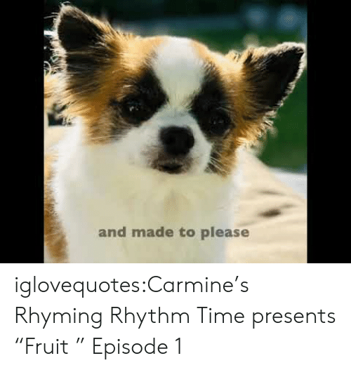 "Tumblr, Blog, and Time: and made to please iglovequotes:Carmine's Rhyming Rhythm Time presents ""Fruit "" Episode 1"