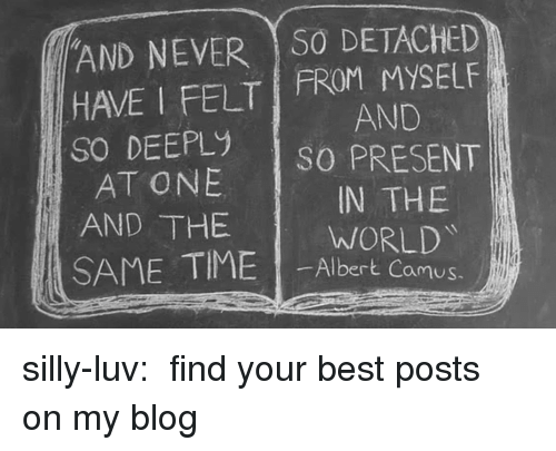 Detached: AND NEVER S0 DETACHED  HAVE I FELT FROM MYSELF  So DEEPLy sO PRESENT  AND  AT ONE  AND THE  IN THE  WORLD  SAME TIME I-Albertkamg  amus. silly-luv:  ♡ find your best posts on my blog ♡