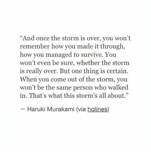"""How, Once, and Storm: """"And once the storm is over, you won't  remember how you made it through,  how you managed to survive. You  won't even be sure, whether the stornm  is really over. But one thing is certain  When you come out of the storm, you  won't be the same person who walked  in. That's what this storm's all about.""""  Haruki Murakami (via hqlines)"""