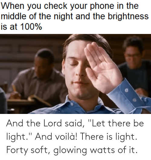 """The Lord: And the Lord said, """"Let there be light."""" And voilà! There is light. Forty soft, glowing watts of it."""