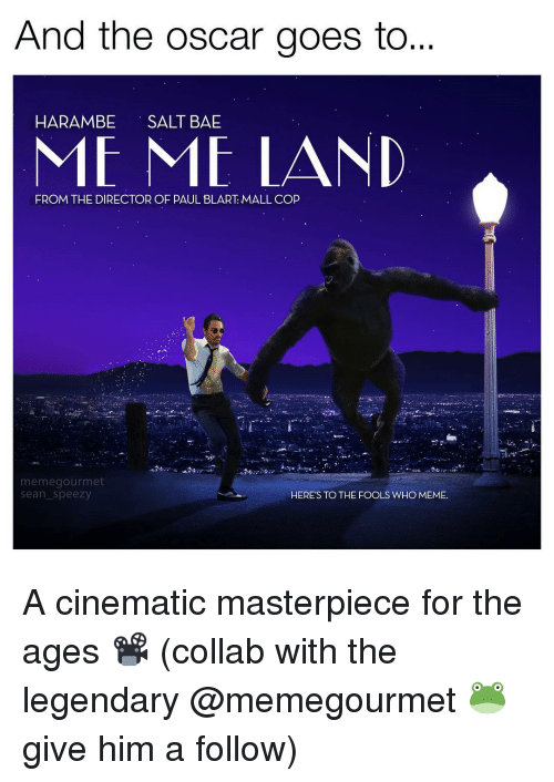 Who Meme: And the Oscar goes to  HARAMBE  SALT BAE  ME ME LAND  FROM THE DIRECTOR OF PAUL BLART MALLCOP  meme gourmet  HERE'S TO THE FOOLS WHO MEME.  Sean Speezy A cinematic masterpiece for the ages 📽 (collab with the legendary @memegourmet 🐸 give him a follow)