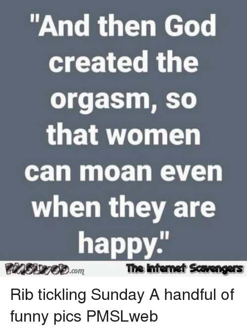 """tickling: """"And then God  created the  orgasm, so  that women  can moan even  when they are  happy  The Intemet Scavengers <p>Rib tickling Sunday  A handful of funny pics  PMSLweb </p>"""