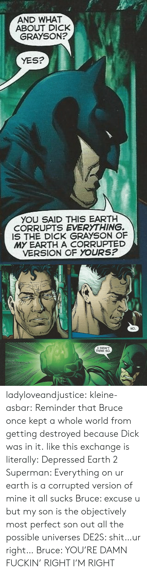 Earth 2: AND WHAT  GRAYSON?  ABOUT DICK  YES?  YOU SAID THIS EARTH  CORRUPTS EVERYTHING.  IS THE DICK GRAYSON OF  MY EARTH A CORRUPTED  VERSION OF YOURS?   NO   I DIDN'T  THINK SO ladyloveandjustice:  kleine-asbar: Reminder that Bruce once kept a whole world from getting destroyed because Dick was in it. like this exchange is literally: Depressed Earth 2 Superman: Everything on ur earth is a corrupted version of mine it all sucks Bruce: excuse u but my son is the objectively most perfect son out all the possible universes DE2S: shit…ur right… Bruce: YOU'RE DAMN FUCKIN' RIGHT I'M RIGHT
