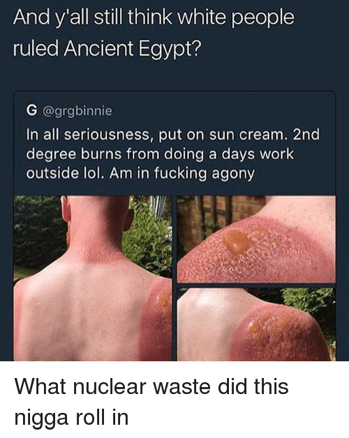 ancient egypt: And y all still think white people  ruled Ancient Egypt?  G @grgbinnie  In all seriousness, put on sun cream. 2nd  degree burns from doing a days work  outside lol. Am in fucking agony What nuclear waste did this nigga roll in