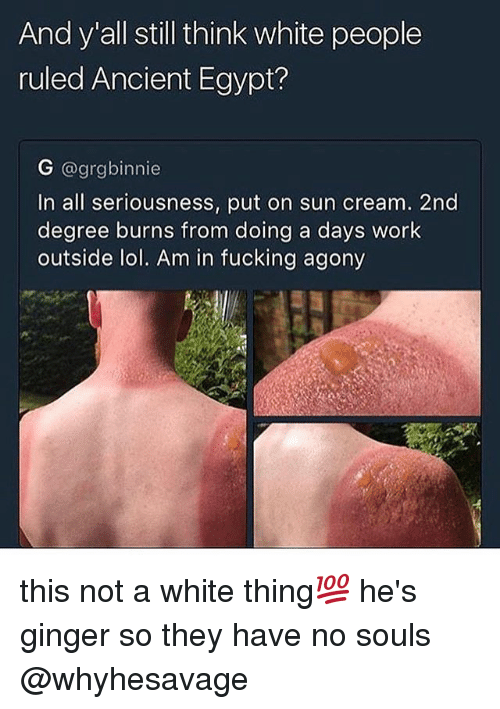 ancient egypt: And y all still think white people  ruled Ancient Egypt?  G @grgbinnie  In all seriousness, put on sun cream. 2nd  degree burns from doing a days work  outside lol. Am in fucking agony this not a white thing💯 he's ginger so they have no souls @whyhesavage