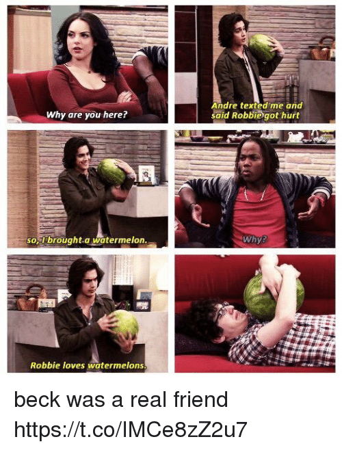 Memes, Beck, and 🤖: Andre texted me and  said Robbie got hurt  Why are you here?  so,Ibrought.a watermelon  Whys  Robbie loves watermelons beck was a real friend https://t.co/IMCe8zZ2u7