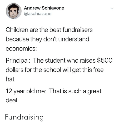 Children, School, and Best: Andrew Schiavone  chiavone  Ls  Children are the best fundraisers  because they don't understand  economics:  Principal: The student who raises $500  dollars for the school will get this free  hat  12 year old me: That is such a great  deal Fundraising