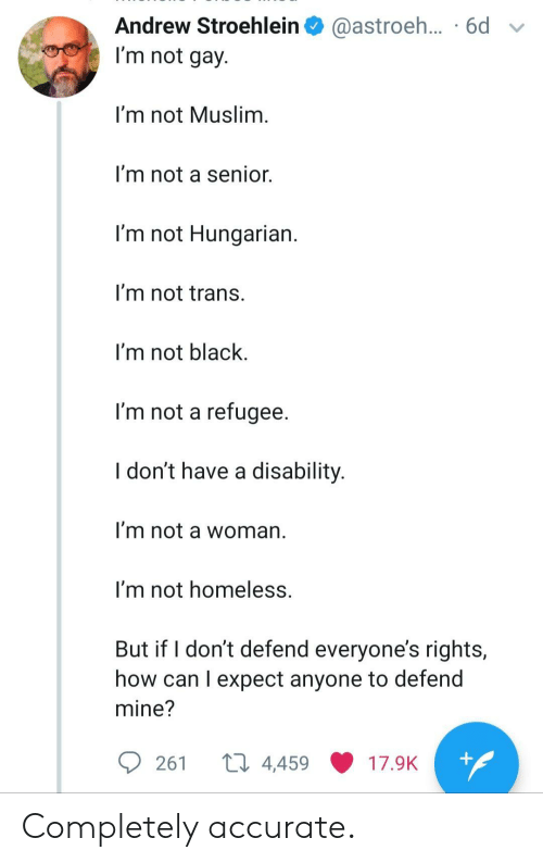 Muslim: Andrew Stroehlein  @astroeh... .6d  I'm not gay.  I'm not Muslim.  I'm not a senior.  I'm not Hungarian.  I'm not trans.  I'm not black  I'm not a refugee.  I don't have a disability.  I'm not a woman  I'm not homeless.  But if I don't defend everyone's rights,  how can I expect anyone to defend  mine?  ti 4,459  +  261  17.9K Completely accurate.