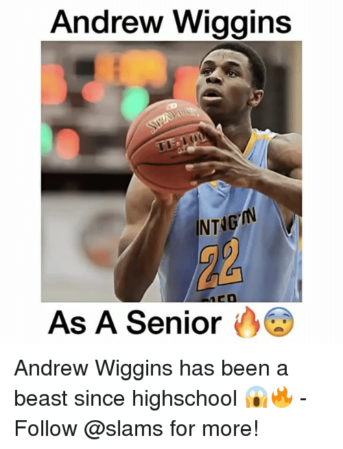 Memes, Andrew Wiggins, and Beastly: Andrew Wiggins  NTAG  As A Senior Andrew Wiggins has been a beast since highschool 😱🔥 - Follow @slams for more!