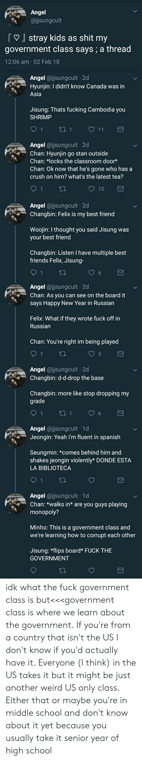 La Biblioteca: Ange  @jjsungcult  Tstray kids as shit my  government class says; a thread  12:06 am 02 Feb 18  Angel @ijsungcuit-2d  Hyunjin: I didn't know Canada was in  RAİ  Asia  Jisung: Thats fucking Cambodia you  SHRIMP  LTİ, Angel @ijsungcuit-2d  Chan: Hyunjin go stan outside  Chan: *locks the classroom door*  Chan: Ok now that he's gone who has a  crush on him? what's the latest tea?  Angel ajsungcult 2d  Changbin: Felix is my best friend  Woojin: I thought you said Jisung was  your best friend  Changbin: Listen I have multiple best  friends Felix, Jisung-  Angel @jsungcult 2d  Chan: As you can see on the board it  says Happy New Year in Russian  Felix: What if they wrote fuck off in  Russian  Chan: You're right im being played  Angel @jsungcult 2d  Changbin: d-d-drop the base  Changbin: more like stop dropping my  grade  Angel@jsungcult 1d  Jeongn: Yeah i'm fluent in spanish  Seungmin: *comes behind him and  shakes jeongin violently* DONDE ESTA  LA BIBLIOTECA  th.  -1 d  A  ngel @jjsungcult  Chan: *walks in* are you guys playing  monopoly?  Minho: This is a government class and  we're learning how to corrupt each other  Jisung: *flips board*FUCK THIE  GOVERNMENT idk what the fuck government class is but<<<government class is where we learn about the government. If you're from a country that isn't the US I don't know if you'd actually have it. Everyone (I think) in the US takes it but it might be just another weird US only class. Either that or maybe you're in middle school and don't know about it yet because you usually take it senior year of high school
