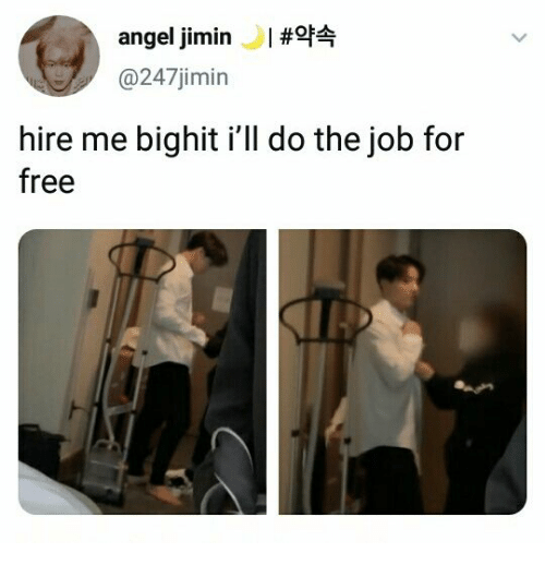 hire: angel jimin#f  @247jimin  hire me bighit i'll do the job for  free