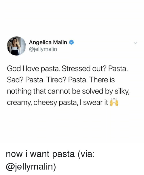 angelica: Angelica Malin  @jellymalin  God I love pasta. Stressed out? Pasta.  Sad? Pasta. Tired? Pasta. There is  nothing that cannot be solved by silky,  creamy, cheesy pasta, I swear it now i want pasta (via: @jellymalin)