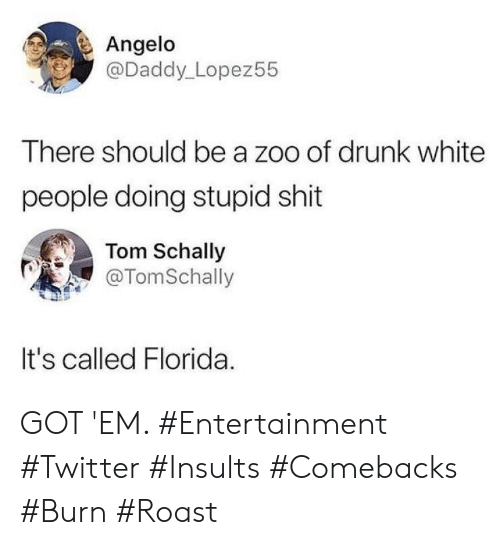 roast: Angelo  @Daddy_Lopez55  There should be a zoo of drunk white  people doing stupid shit  Tom Schally  @TomSchally  It's called Florida GOT 'EM. #Entertainment #Twitter #Insults #Comebacks #Burn #Roast
