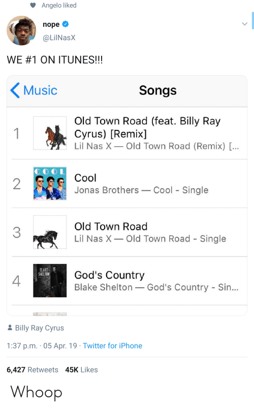 feat: Angelo liked  nope  @LilNasX  WE#1 ON ITUNES!!!  Music  Songs  Old Town Road (feat. Billy Ray  Cyrus) [Remix]  Lil Nas X Old Town Road (Remix) [...  1  Cool  2  Jonas Brothers  Cool Single  Old Town Road  3  Lil Nas X  Old Town Road - Single  BLAKE  SHELTON  God's Country  Blake Shelton God's Country - Sin...  2Billy Ray Cyrus  1:37 p.m. 05 Apr. 19 Twitter for iPhone  6,427 Retweets 45K Likes Whoop