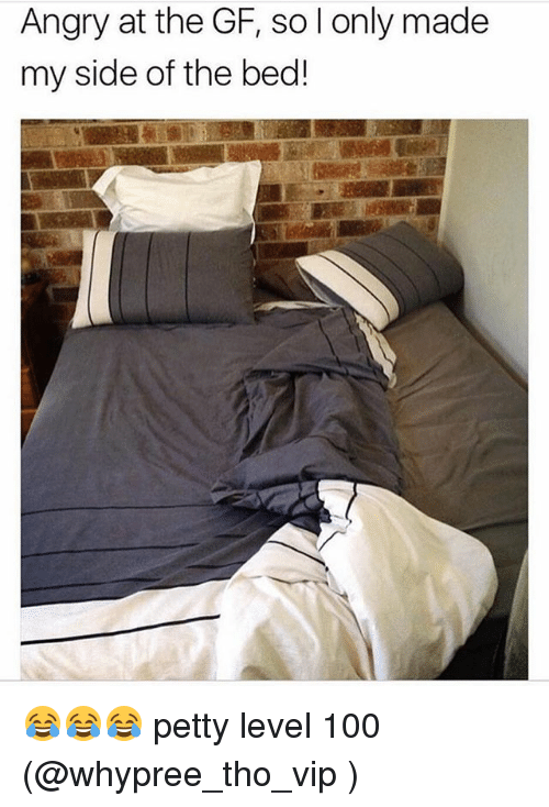 Anaconda, Memes, and Petty: Angry at the GF, so l only made  my side of the bed! 😂😂😂 petty level 100 (@whypree_tho_vip )