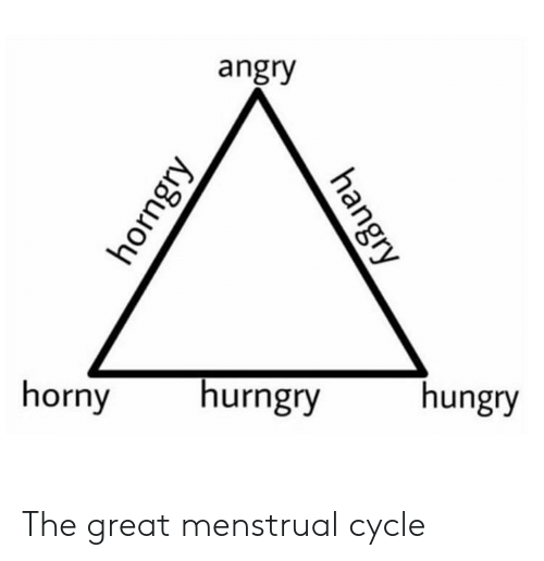 Menstrual: angry  horny  hurngry  hungry The great menstrual cycle
