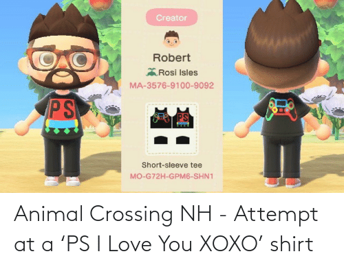 I Love You: Animal Crossing NH - Attempt at a 'PS I Love You XOXO' shirt