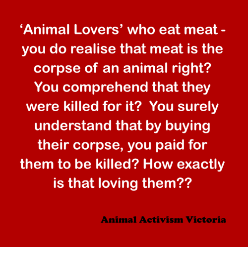 eating meat: 'Animal Lovers' who eat meat  you do realise that meat is the  corpse of an animal right?  You comprehend that they  were killed for it? You surely  understand that by buying  their corpse, you paid for  them to be killed? How exactly  is that loving them??  Animal Activism Victoria