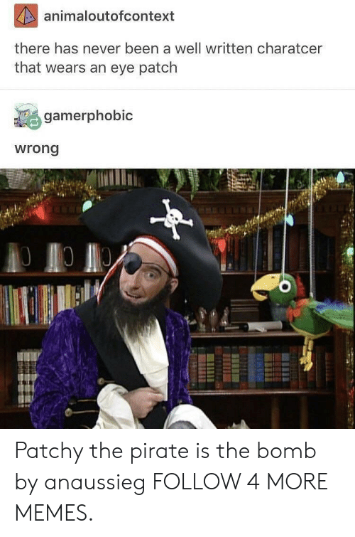 Patchy: animaloutofcontext  there has never been a well written charatcer  that wears an eye patch  gamerphobic  wrong Patchy the pirate is the bomb by anaussieg FOLLOW 4 MORE MEMES.