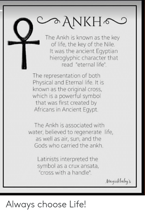 ANKH the Ankh Is Known as the Key of Life the Key of the