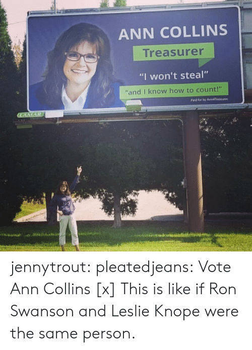 """Funny, Leslie Knope, and Reddit: ANN COLLINS  Treasurer  """"I won't steal""""  """"and I know how to count!"""" jennytrout: pleatedjeans:  Vote Ann Collins [x]  This is like if Ron Swanson and Leslie Knope were the same person."""