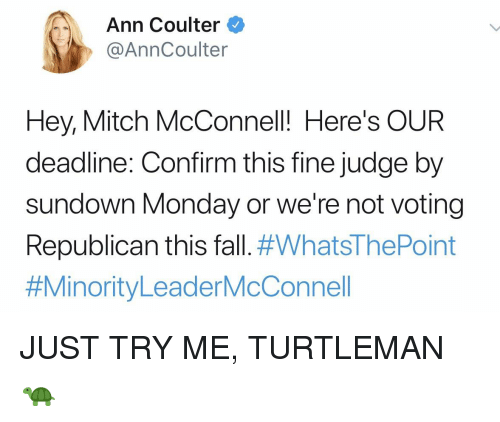 Fall, Try Me, and Monday: Ann Coulter  @AnnCoulter  Hey, Mitch McConnel! Here's OUR  deadline: Confirm this fine judge by  sundown Monday or we're not voting  Republican this fall.