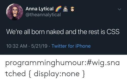 Anna, Iphone, and Tumblr: Anna Lytical  @theannalytical  We're all born naked and the rest is CSS  10:32 AM 5/21/19 Twitter for iPhone programminghumour:#wig.snatched { display:none }