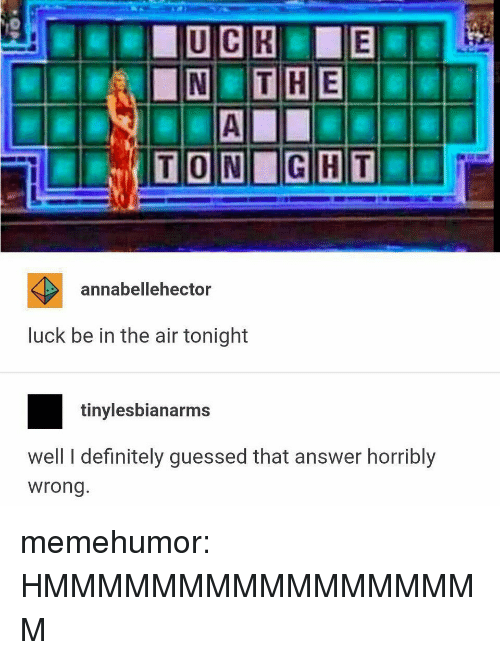 Definitely, Tumblr, and Blog: annabellehector  luck be in the air tonight  tinylesbianarms  well I definitely guessed that answer horribly  wrong memehumor:  HMMMMMMMMMMMMMMMMM